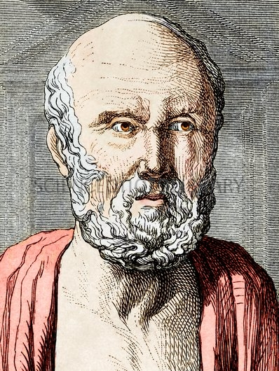 Hippocrates (c.460-c.370 BC), Ancient Greek physician and philosopher. Hippocrates, who is considered the father of medicine, founded a medical school on the Aegean island of Kos. He had a rational approach, believing that disease was caused by physical phenomena, and not by the the gods. Artwork from the 19th century book ^IVies des^i ^ISavants Illustres^i.